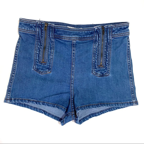 Free People Pants - Free People Medium Wash Double Zipper Jean Shorts